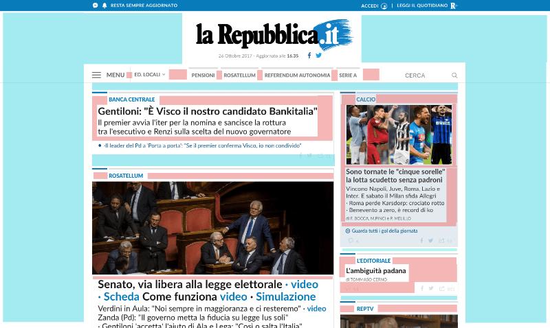 Repubblica - Esempio spazi bianchi su siti di news