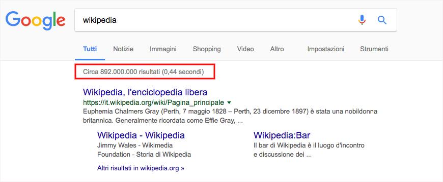 risultati di ricerca google per wikipedia