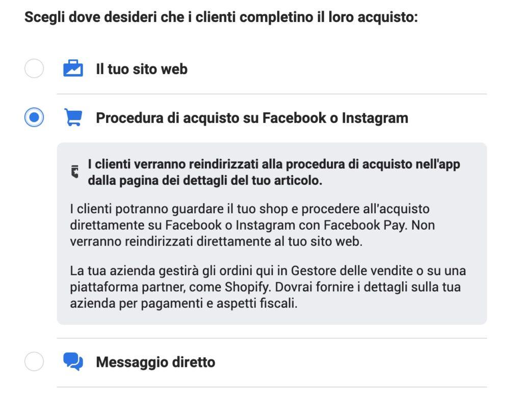 Procedura facebook Shops